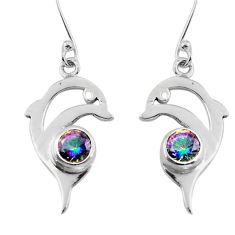 Multicolor rainbow topaz 925 sterling silver fish earrings jewelry d29581