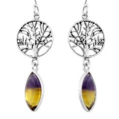 Multi color ametrine (lab) 925 silver tree of life earrings d29588