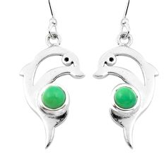 Green copper turquoise 925 sterling silver fish earrings jewelry d29590