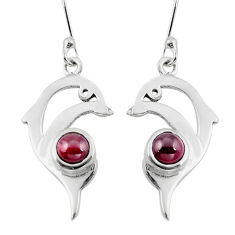 Clearance Sale- Natural red garnet 925 sterling silver fish earrings jewelry d29595