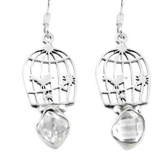 Clearance Sale- Natural white herkimer diamond 925 silver dangle cage charm earrings d29601