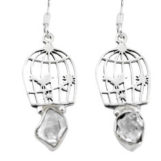Clearance Sale- 925 silver natural white herkimer diamond dangle cage charm earrings d29604