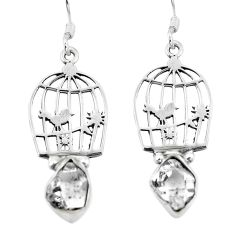 Natural white herkimer diamond 925 silver dangle cage charm earrings d29606