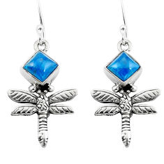 Clearance Sale- Natural blue apatite (madagascar) 925 silver dragonfly earrings d29610