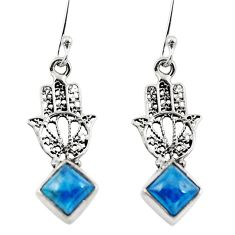 Clearance Sale- Natural blue apatite (madagascar) 925 silver hand of god hamsa earrings d29611