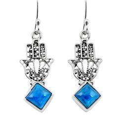 Clearance Sale- Natural blue apatite (madagascar) 925 silver hand of god hamsa earrings d29612