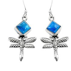 Natural blue apatite (madagascar) 925 silver dragonfly earrings d29614