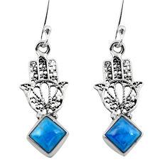 Clearance Sale- Natural blue apatite (madagascar) 925 silver hand of god hamsa earrings d29615