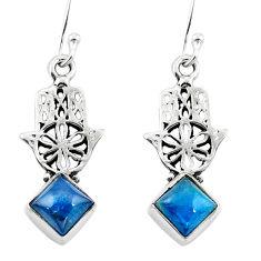 Clearance Sale- Natural blue apatite (madagascar) 925 silver hand of god hamsa earrings d29617