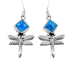 Natural blue apatite (madagascar) 925 silver dragonfly earrings jewelry d29620