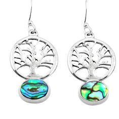 Clearance Sale- Natural green abalone paua seashell 925 silver tree of life earrings d29622