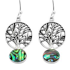 Natural green abalone paua seashell 925 silver tree of life earrings d29634