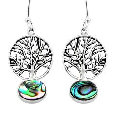 Clearance Sale- Natural green abalone paua seashell 925 silver tree of life earrings d29635