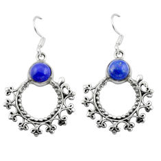 Natural blue lapis lazuli 925 sterling silver dangle earrings d29638