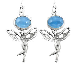 Clearance Sale- Natural blue aquamarine 925 silver angel wings fairy earrings d29650