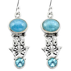 Natural blue aquamarine 925 silver hand of god hamsa earrings d29652