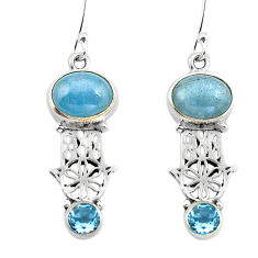 Clearance Sale- Natural blue aquamarine 925 silver hand of god hamsa earrings d29653
