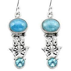 Clearance Sale- Natural blue aquamarine 925 silver hand of god hamsa earrings d29654