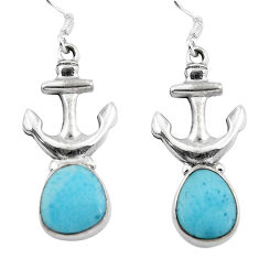 Clearance Sale- Natural blue larimar 925 sterling silver dangle anchor charm earrings d29664