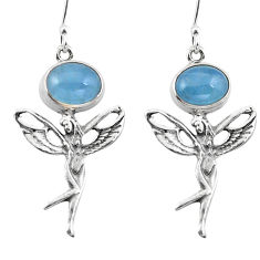 Clearance Sale- Natural blue aquamarine 925 silver angel wings fairy earrings d29680
