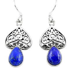 Clearance Sale- Natural blue lapis lazuli 925 sterling silver dangle earrings d29685