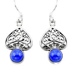Natural blue lapis lazuli 925 sterling silver dangle earrings d29689