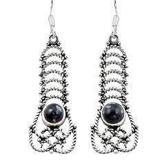 Clearance Sale- 925 silver natural black australian obsidian dangle earrings jewelry d29690