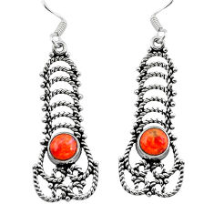 Clearance Sale- Red copper turquoise 925 sterling silver dangle earrings jewelry d29691