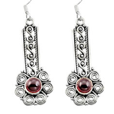 Clearance Sale- Natural red garnet 925 sterling silver dangle earrings jewelry d29692