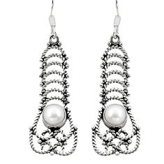 Natural white pearl 925 sterling silver dangle earrings jewelry d29694