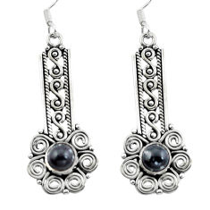 Natural black onyx 925 sterling silver dangle earrings jewelry d29696
