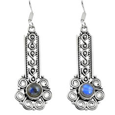 Clearance Sale- Natural blue labradorite 925 sterling silver dangle earrings d29699