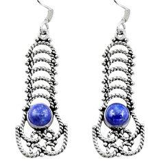 Natural blue lapis lazuli 925 sterling silver dangle earrings d29700