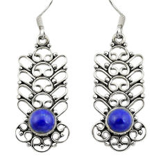 Clearance Sale- 925 sterling silver natural blue lapis lazuli dangle earrings d29707