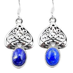 Clearance Sale- Natural blue lapis lazuli 925 sterling silver dangle earrings d29709
