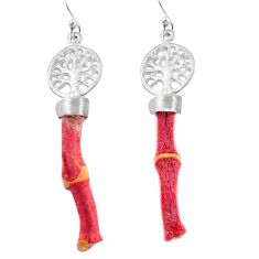 Natural red coral 925 sterling silver tree of life earrings jewelry d29732