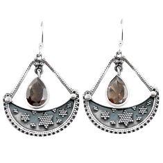 Clearance Sale- Brown smoky topaz 925 sterling silver dangle earrings jewelry d29747