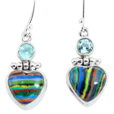 Natural multi color rainbow calsilica 925 silver dangle heart earrings d29753