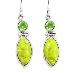 Natural yellow lizardite (meditation stone) 925 silver dangle earrings d29764