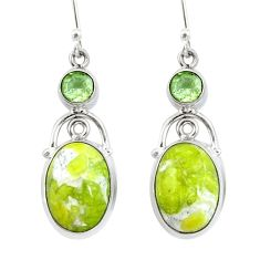 Natural yellow lizardite (meditation stone) 925 silver dangle earrings d29765