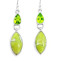 925 silver natural yellow lizardite (meditation stone) dangle earrings d29766