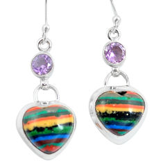Natural multi color rainbow calsilica heart 925 silver dangle earrings d29768