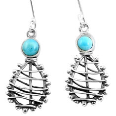 Clearance Sale- Natural blue larimar 925 sterling silver dangle earrings jewelry d29770