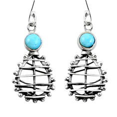 Clearance Sale- Natural blue larimar 925 sterling silver dangle earrings jewelry d29771