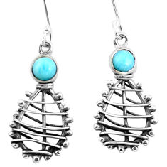 Clearance Sale- Natural blue larimar 925 sterling silver dangle earrings jewelry d29772