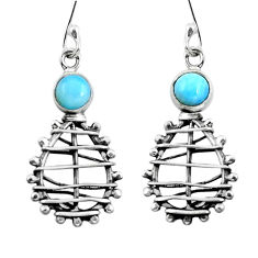 Clearance Sale- Natural blue larimar 925 sterling silver dangle earrings jewelry d29775