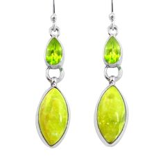 Natural yellow lizardite (meditation stone) 925 silver dangle earrings d29779