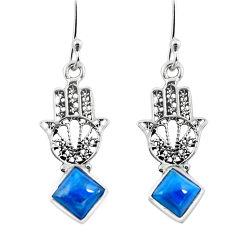 Clearance Sale- Natural blue apatite (madagascar) 925 silver hand of god hamsa earrings d29803