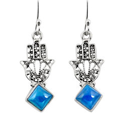 Clearance Sale- Natural blue apatite (madagascar) 925 silver hand of god hamsa earrings d29807