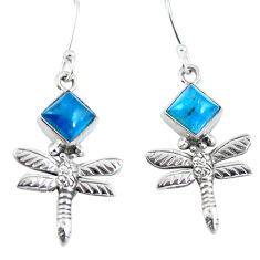Clearance Sale- Natural blue apatite (madagascar) 925 silver dragonfly earrings d29814